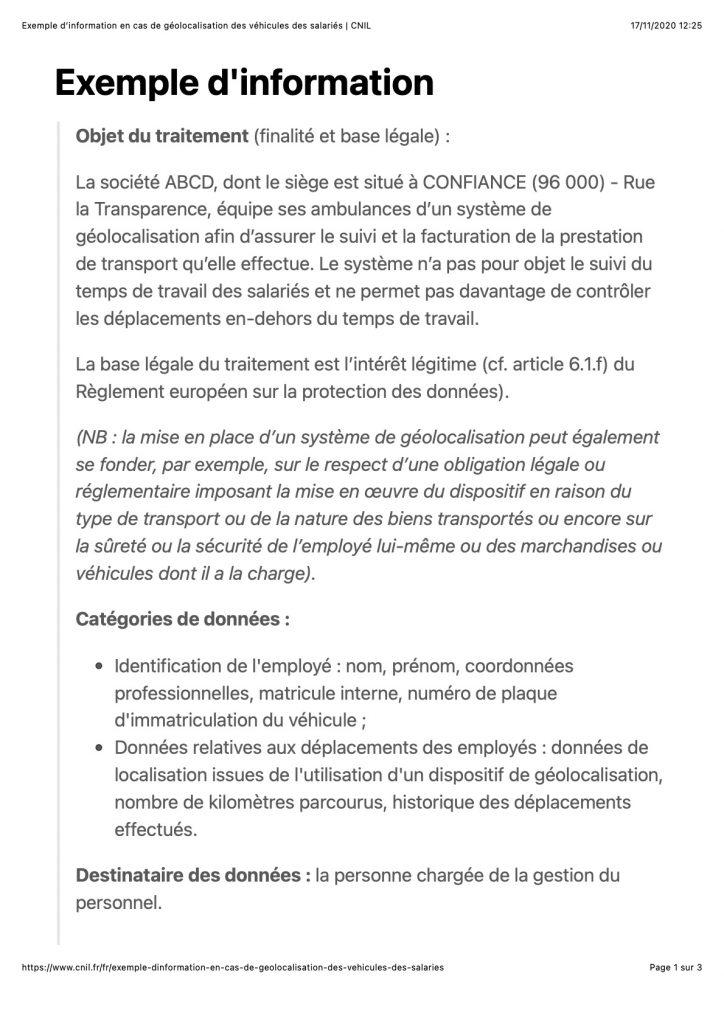 Note d'information CNIL géolocalisation salariés