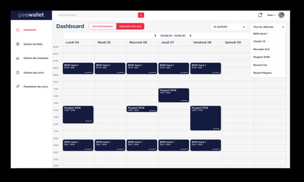 dashboard calendrier