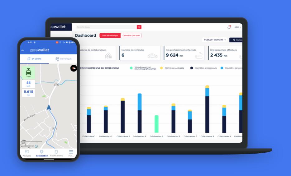 Interface web gestionnaire et application mobile de Geowallet